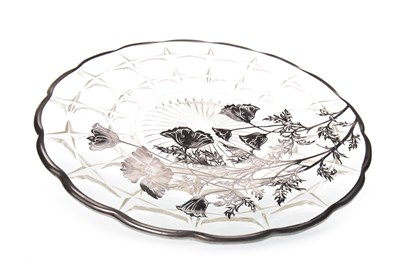 Lot 1211-A SILVER-OVERLAID GLASS CIRCULAR PLATE