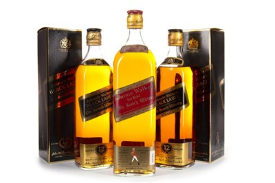 Lot 440-TWO BOTTLES OF JOHNNIE WALKER BLACK LABEL, AND ONE LITRE OF JOHNNIE WALKER RED