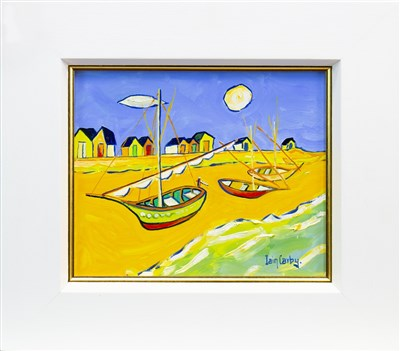 Lot 641-FISHING BOATS AT CADAQUES, AN OIL BY IAIN CARBY