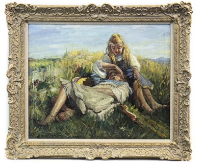 Lot 638-SUMMER AFTERNOON, AN OIL BY A FOLLOWER OF DOROTHEA SHARP