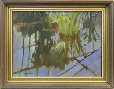 Lot 615-WATER PLANTS, AN OIL BY JEAN GARDNER