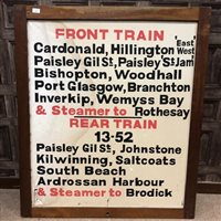 Lot 824-A GLASGOW CENTRAL STATION DESTINATION BOARD CIRCA 1970s