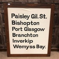 Lot 825-A GLASGOW CENTRAL STATION DESTINATION BOARD CIRCA 1970s