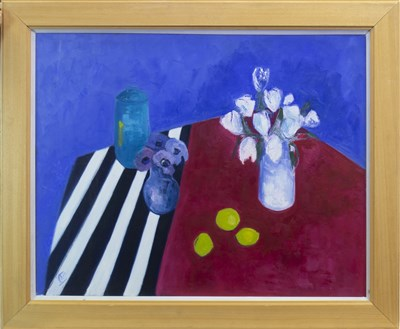 Lot 619-ANEMONES ON STRIPED CLOTH, AN OIL BY IRENE MCCANN