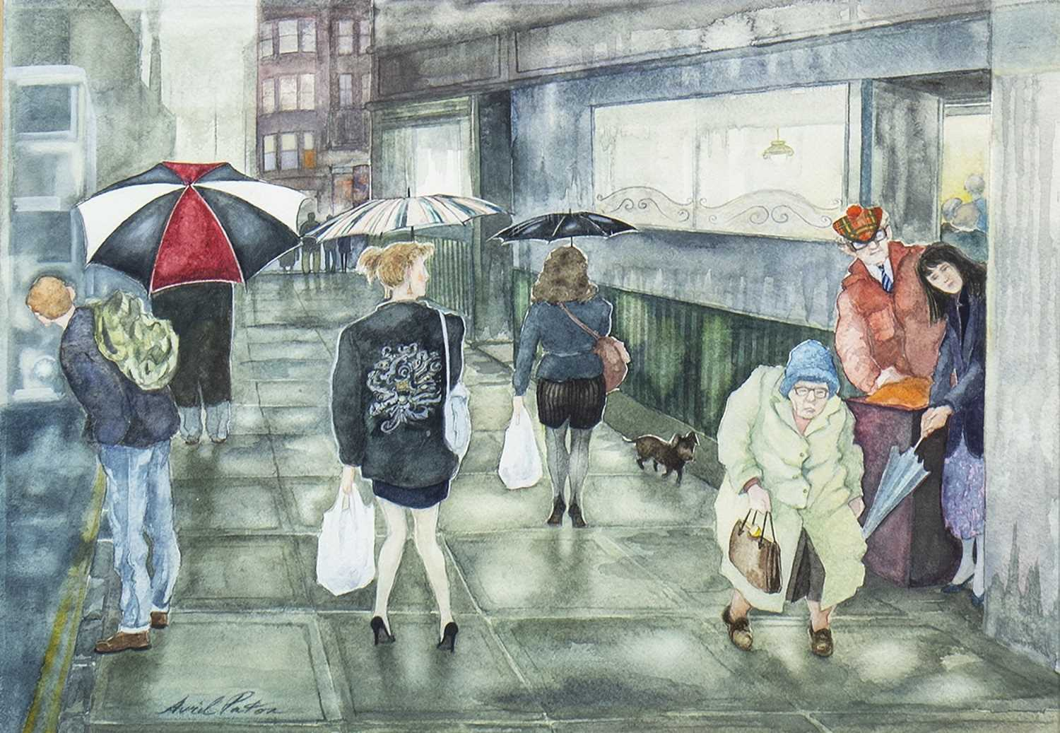 Lot 620 - BYRES ROAD BROLLIES, A WATERCOLOUR BY AVRIL PATON