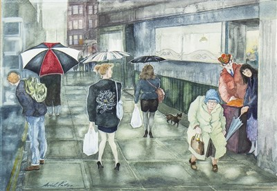 Lot 620-BYRES ROAD BROLLIES, A WATERCOLOUR BY AVRIL PATON
