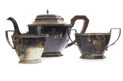 Lot 828-A SILVER THREE PIECE TEA SERVICE
