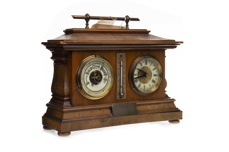 Lot 1414-A LATE VICTORIAN WALNUT CLOCK BAROMETER DESK COMPENDIUM
