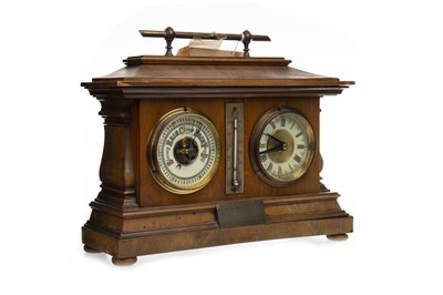 Lot 1414-A LATE VICTORIAN WALNUT CLOCK BAROMETER DESK COMPENDIUM
