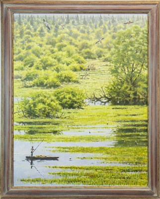 Lot 560-THE BIEBRZA MARSHES, AN OIL BY BRUCE PEARSON