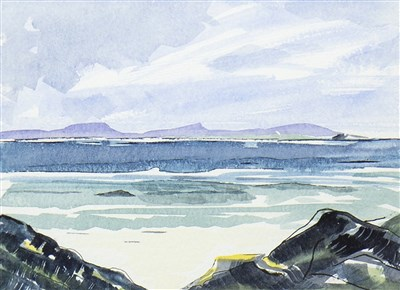 Lot 642-VIEW FROM THE SHORE, A WATERCOLOUR
