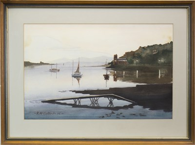 Lot 644-HARBOUR SCENE, A WATERCOLOUR BY R MCCULLOCH