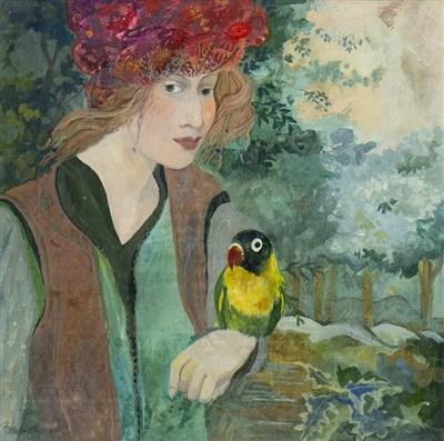Lot 563-GIRL AND BLACK HEADED LOVEBIRD, A GOUACHE BY BRENDA LENAGHAN