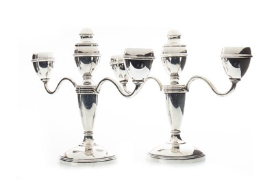 Lot 831-A PAIR OF SILVER CANDELABRA