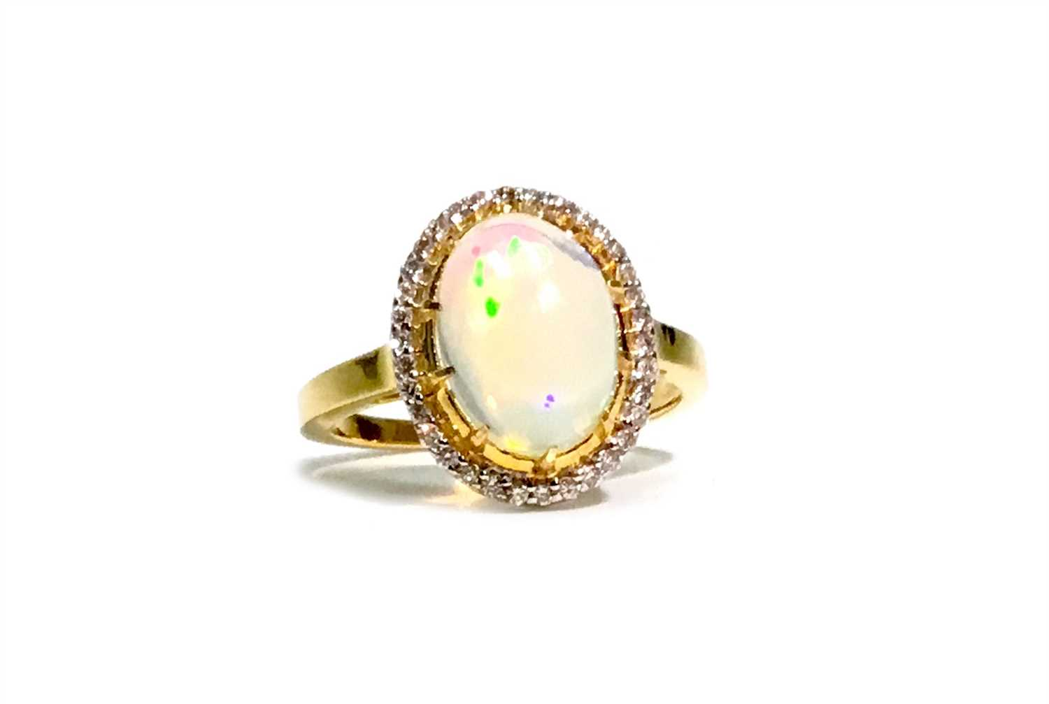Lot 303-AN OPAL AND DIAMOND RING