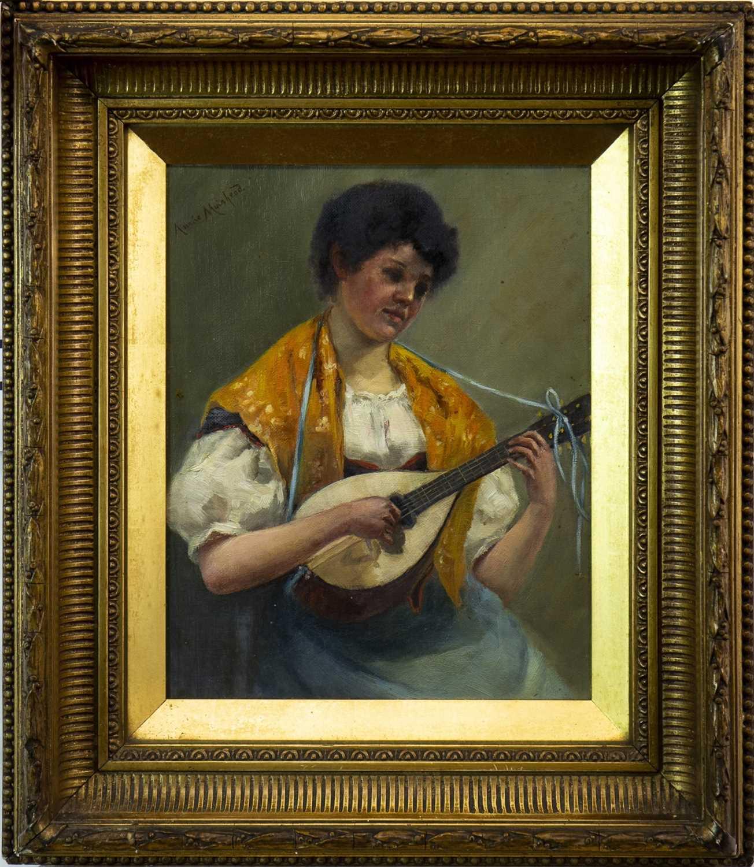 Lot 453-MUSIC HATH CHARMS, AN OIL BY ANNE MUIRHEAD PATERSON