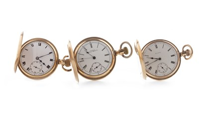 Lot 781 - THREE GOLD PLATED FULL HUNTER POCKET WATCHES