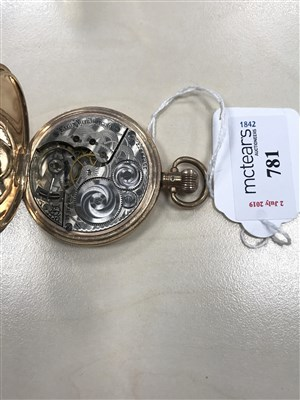 Lot 781-THREE GOLD PLATED FULL HUNTER POCKET WATCHES