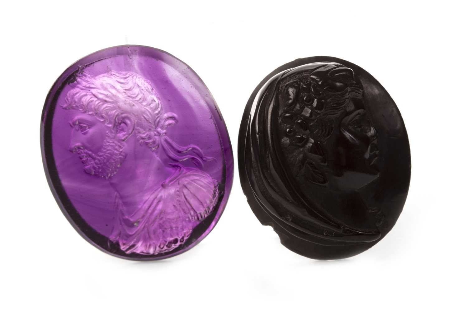 Lot 61-TWO CARVED CAMEOS