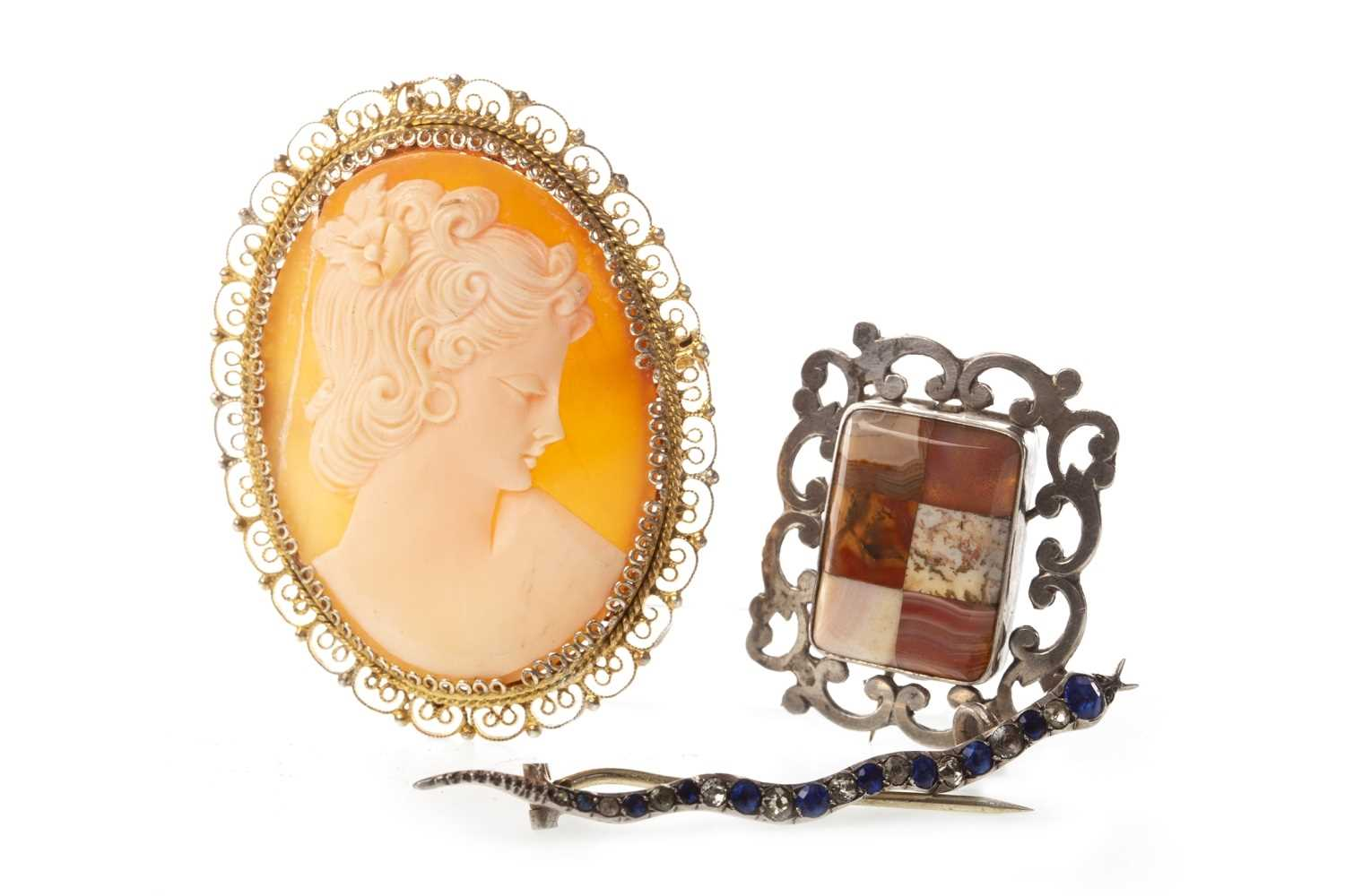 Lot 51-THREE VICTORIAN AND LATER BROOCHES