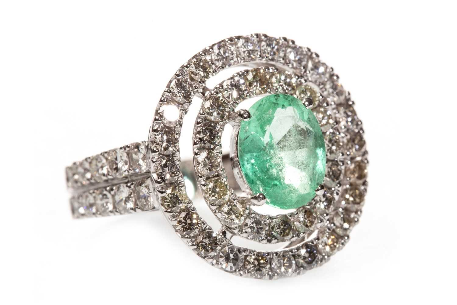 Lot 98-A CERTIFICATED COLOMBIAN EMERALD AND DIAMOND CLUSTER RING