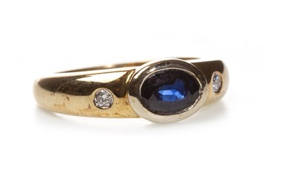 Lot 27-A CERTIFICATED SAPPHIRE AND DIAMOND RING