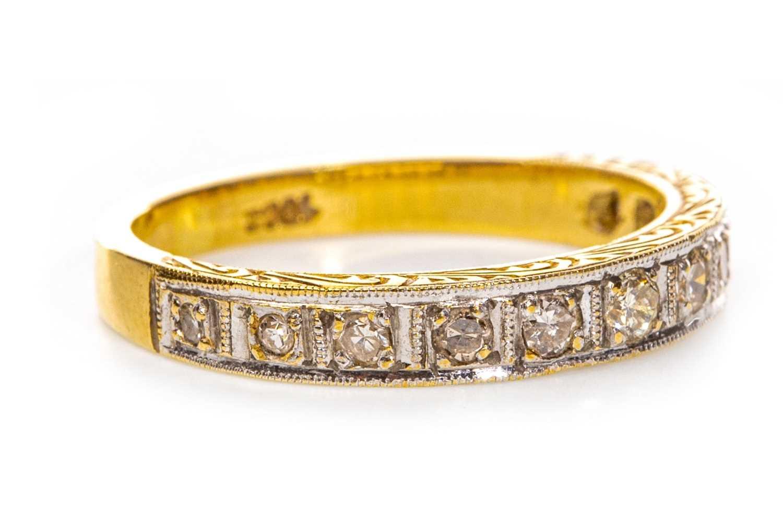 Lot 110-AN EARLY TO MID TWENTIETH CENTURY DIAMOND HALF ETERNITY RING