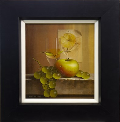 Lot 578-STILL LIFE WITH APPLE AND GRAPES, AN OIL BY MIKE WOODS