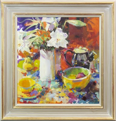Lot 580-DECORATIONS WITH FLOWERS, AN OIL BY PETER GRAHAM