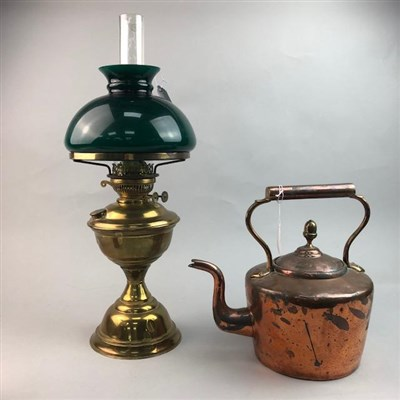 Lot 20-A COPPER KETTLE, BRASS OIL LAMP AND TWO GUN POWDER HORNS