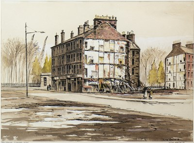Lot 650-EARLY MORNING, ELDERPARK, GOVAN, A WATERCOLOUR BY ALISTAIR ANDERSON
