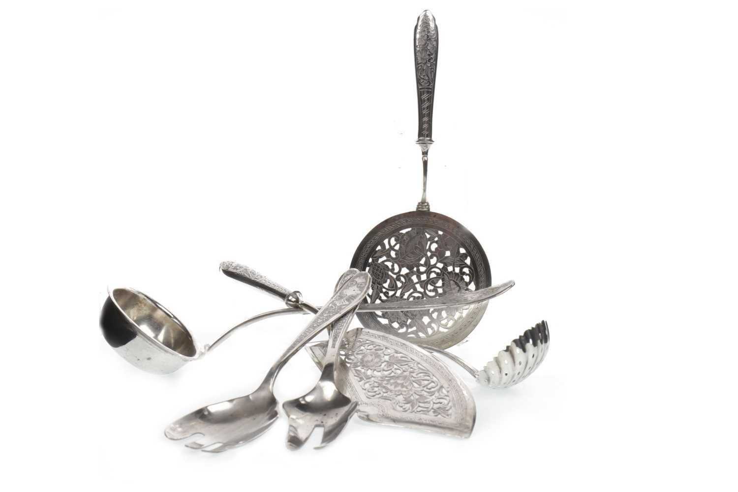 Lot 1018-AN IRANIAN SILVER FISH SLICE AND OTHER ITEMS