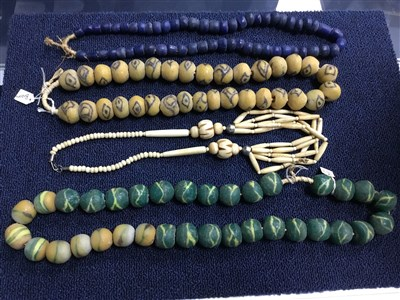 Lot 17-A COLLECTION OF NIGERIAN GLASS BEAD NECKLACES AND OTHER NECKLACES