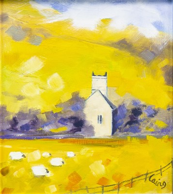 Lot 652-FINTRY KIRK, SPRING, AN OIL BY ROWENA LAING