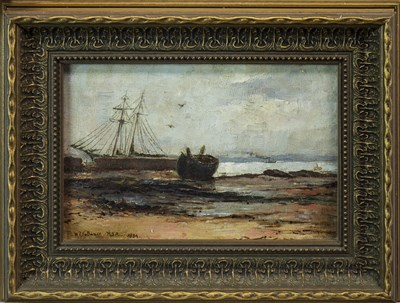 Lot 482-BEACHED BOAT, AN OIL BY WILLIAM FLEMING VALLANCE