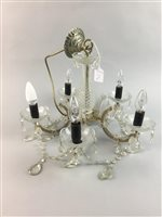 Lot 27-A PAIR OF CRYSTAL FIVE BRANCH CHANDELIERS
