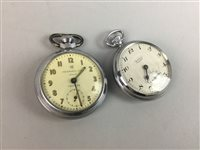 Lot 50-A LOT OF TWO METAL CASED POCKET WATCHES, COSTUME JEWELLERY AND AN INSTRUMENT SET