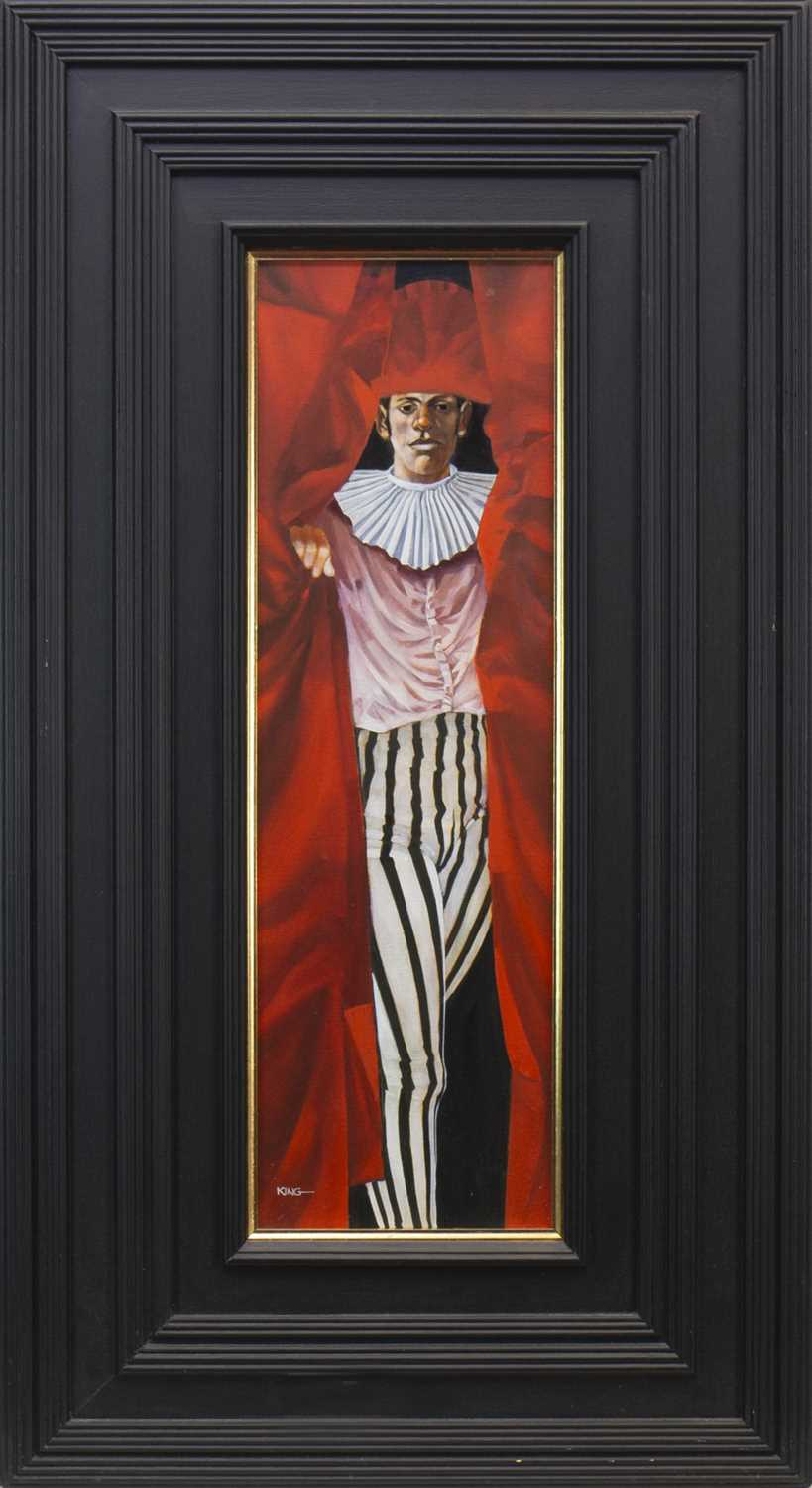 Lot 1879-IN MY NEW STRIPED TROUSERS AND RED HAT, AN OIL BY ALAN KING