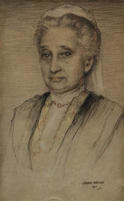 Lot 491-PORTRAIT OF AN ELDERLY LADY, A PASTEL BY JAMES PATERSON