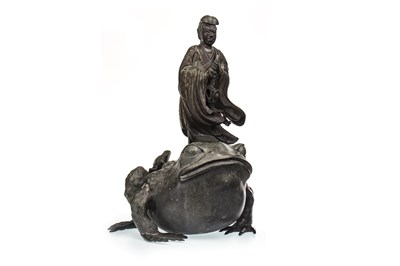 Lot 1011-A LATE 19TH CENTURY CHINESE BRONZE FIGURE AND TOAD