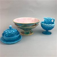 Lot 38-A MAJOLICA BOWL AND THREE VASELINE GLASS ITEMS