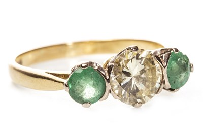 Lot 97-A DIAMOND AND GREEN GEM SET RING