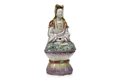Lot 1046-A 20TH CENTURY CHINESE POLYCHROME FIGURE OF GUANYIN