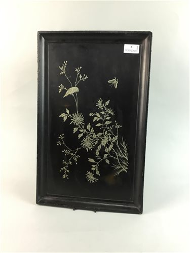 Lot 2-A CHINESE SILVER INLAID LACQUERED TRAY