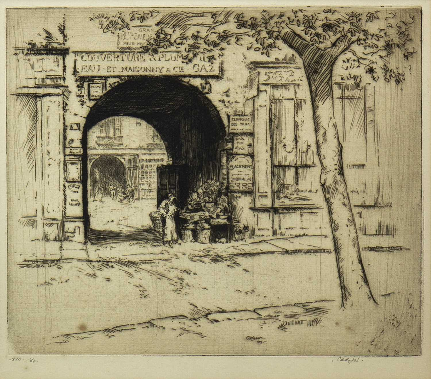 Lot 722-QUIET FRENCH STREET, AN ETCHING BY JAMES CADZOW