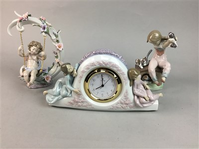 Lot 46-A LLADRO CLOCK AND TWO LLADRO FIGURES