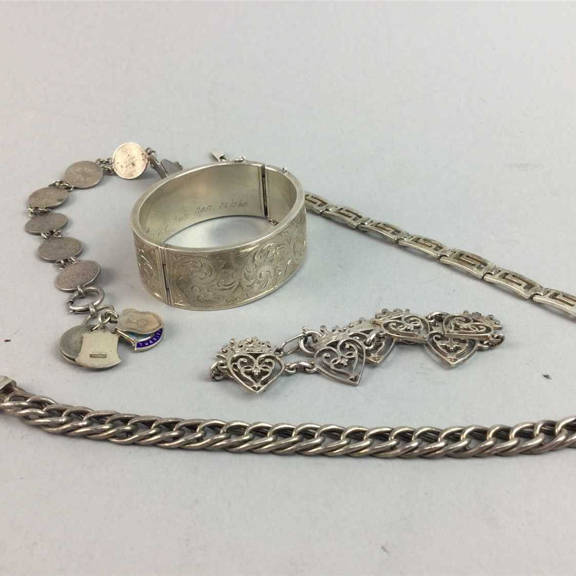 Lot 3-A JOHN HART LUCKENBOOTH IONA SILVER BRACELET AND OTHER SILVER JEWELLERY
