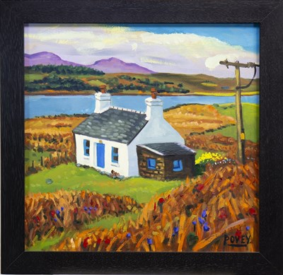 Lot 514-CROFT BY LOCH CAOLISPORT, AN OIL BY COLIN POVEY