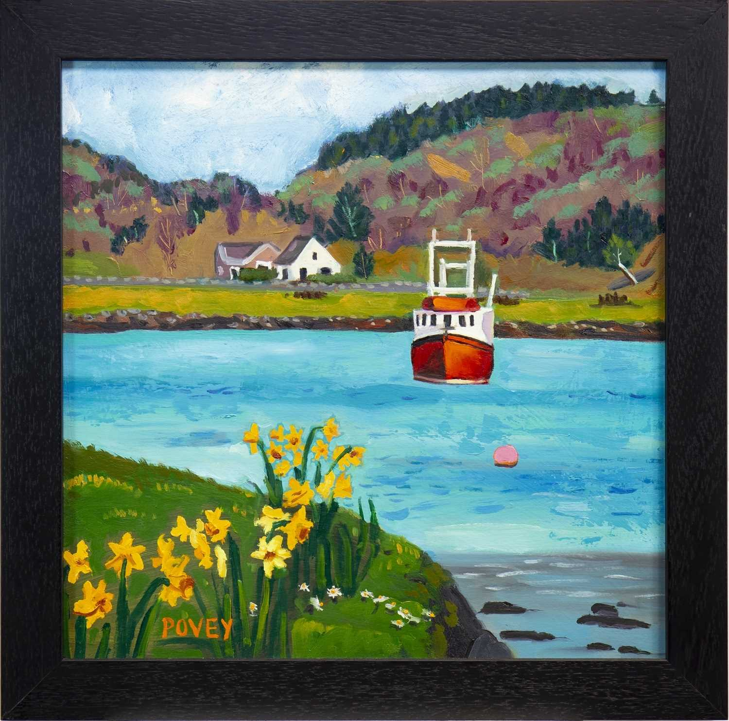 Lot 529-RED BOAT, TAYVALLICH, AN OIL BY COLIN POVEY