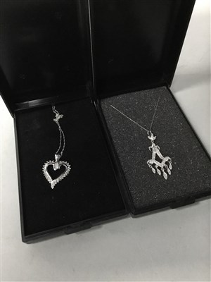Lot 4-A DIAMOND HEART PENDANT AND ANOTHER PENDANT